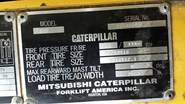 Caterpillar forklift's serial number
