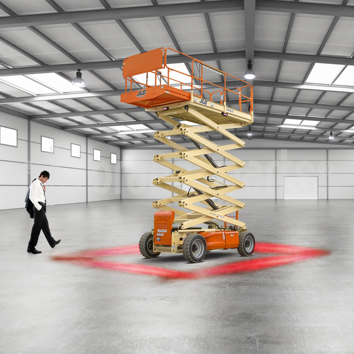 red zone forklift light mounted on jlg
