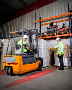 forklift red zone light in action